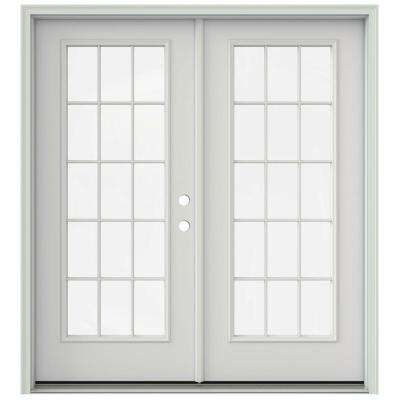 72 in. x 80 in. Primed Prehung Left-Hand Inswing 15 Lite French Patio Door with Brickmould
