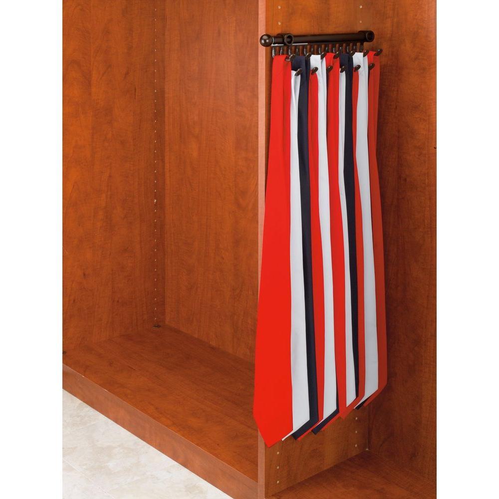 2.5 in. H x 2 in. W x 14 in. D Oil-Rubbed Bronze Pull-Out 9-Hook Tie/Scarf Rack