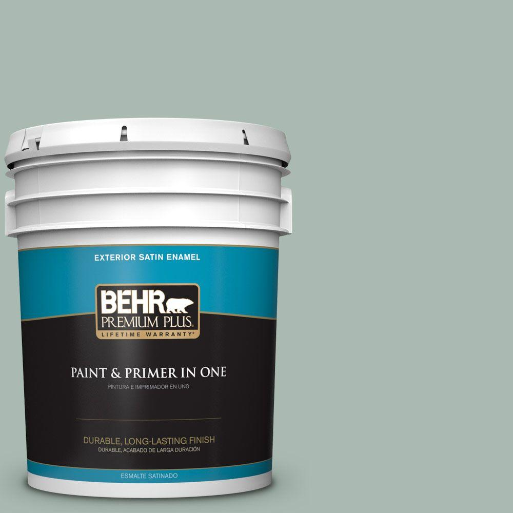 5-gal. #BXC-85 Quiet Teal Satin Enamel Exterior Paint