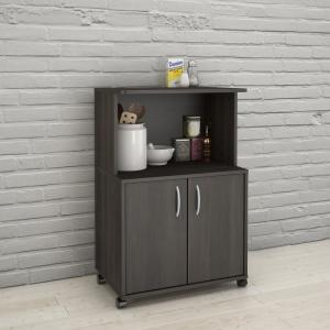 Ebony Kitchen Cart with Storage Cabinet by