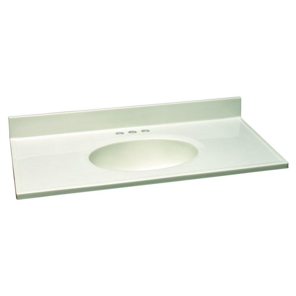 Design house 37 in w cultured marble vanity top with white on white bowl 551077 the home depot - Cultured marble bathroom vanity tops ...