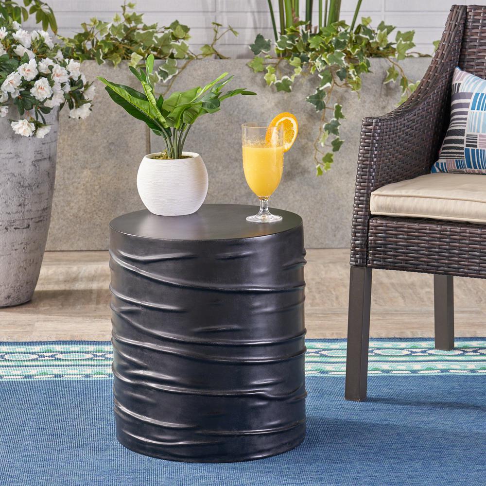 Zapara Black Round Stone Outdoor Side Table