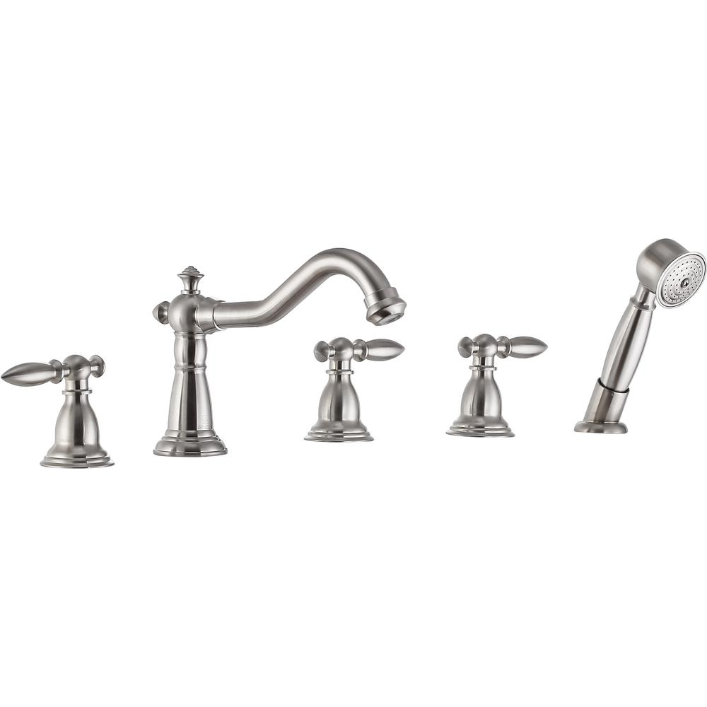 Patriarch 2-Handle Deck-Mount Roman Tub Faucet with Handheld Sprayer in Brushed