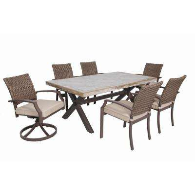 Hudson 7-Piece Aluminum Outdoor Dining Set with Tan Cushions