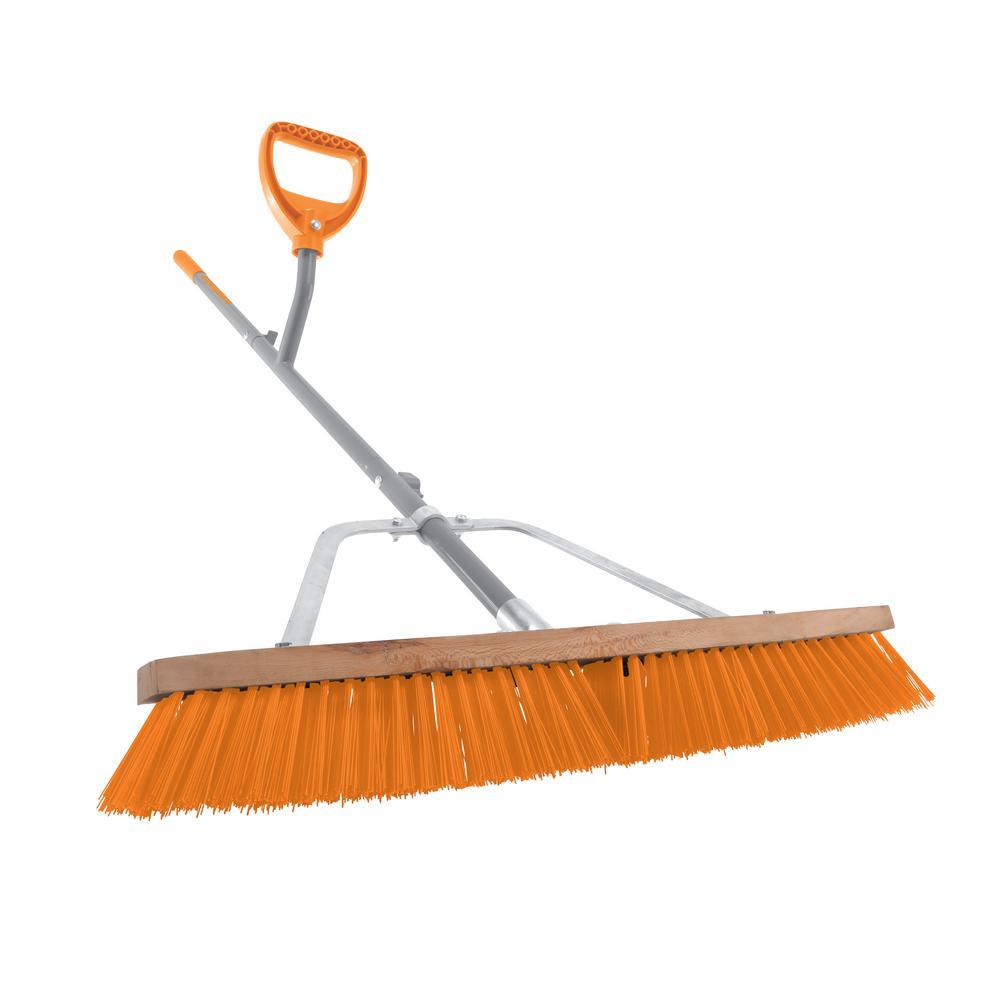 24 in. Steel Shaft Strain Reducing Indoor/Outdoor Push Broom