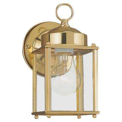 Brass gold outdoor wall mounted lighting outdoor lighting new castle 1 light polished brass outdoor wall fixture workwithnaturefo