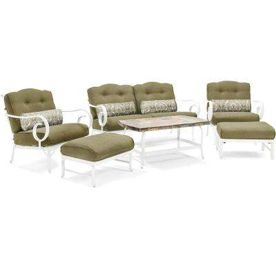 White Willow 6-Piece Aluminum Patio Seating Set with Green Cushions