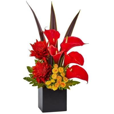 Indoor Tropical Floral and Calla Lily Mixed Silk Arrangement