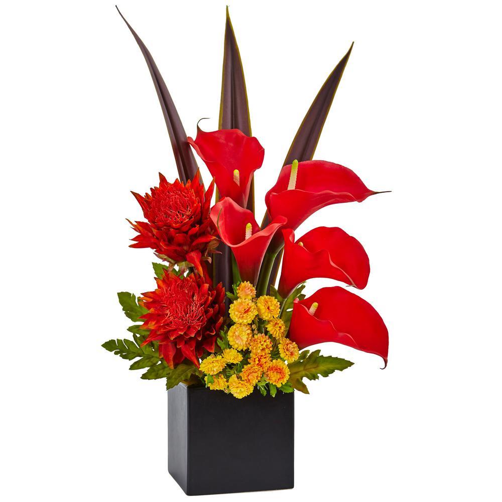 Indoor Tropical Floral and Calla Lily Mixed Silk Arrangement