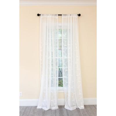 Breeze Wavy Embroidered Sheer Single Rod Pocket Curtain Panel in White - 54 in. x 120 in.