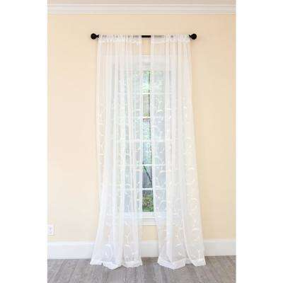 Breeze Wavy Embroidered Sheer Single Rod Pocket Curtain Panel in White - 54 in. x 96 in.