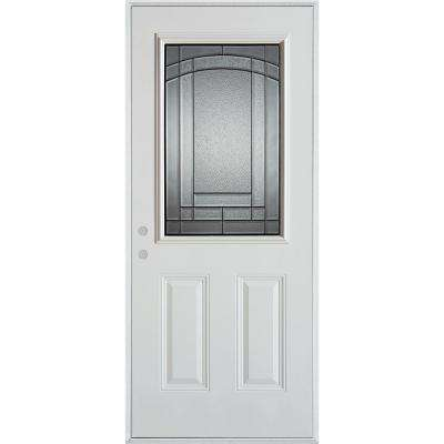 36 in. x 80 in. Chatham Patina 1/2 Lite 2-Panel Painted White Right-Hand Inswing Steel Prehung Front Door