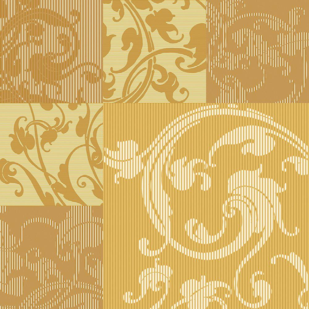 The Wallpaper Company 56 sq. ft. Yellow and Ochre Swirl Leaf Design in. Square Pattern Wallpaper