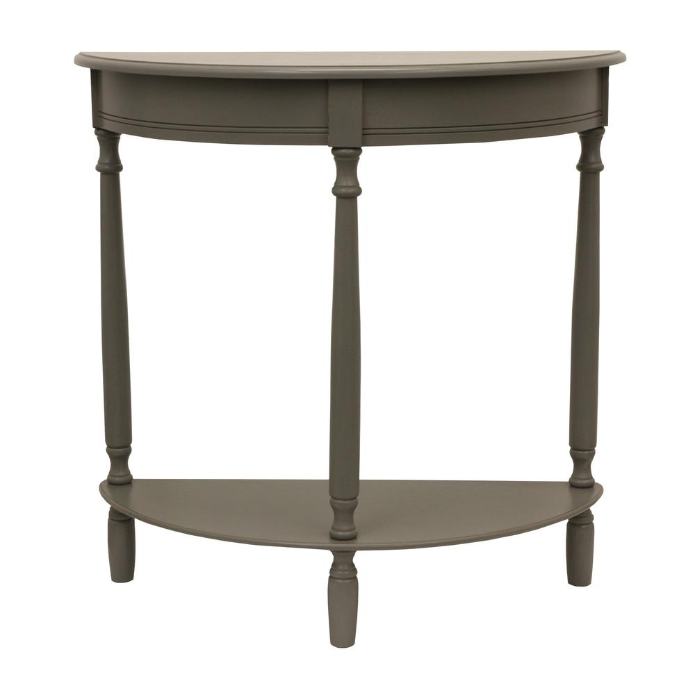 Decor Therapy Simplicity Eased Edge Gray Half Round Console Table