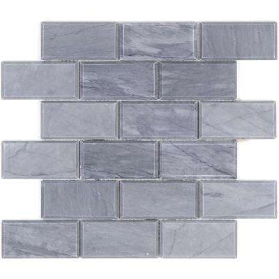 Beveled Cardiff Gray 11.81 in. x 11.87 in. x 10.5 mm Marble Mosaic