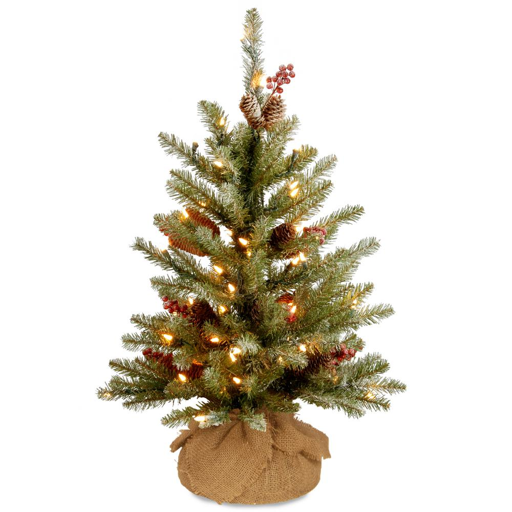 national tree company 3 ft battery operated dunhill fir artificial christmas tree with warm white - Battery Operated Christmas Trees