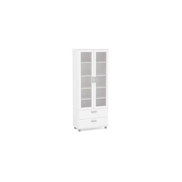 Quebec White China Cabinet with Glass Doors