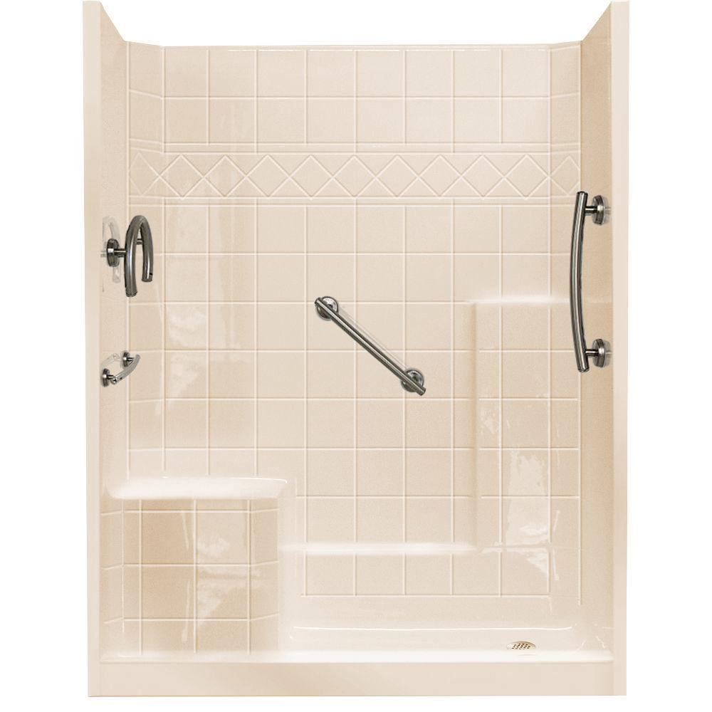 Ella 32 in. x 60 in. x 77 in. Freedom Low Threshold 3-Piece Shower ...