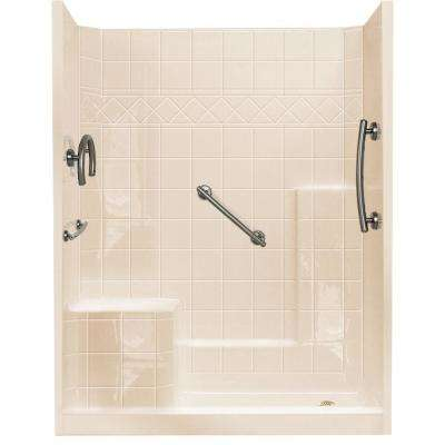 32 in. x 60 in. x 77 in. Freedom Low Threshold 3-Piece Shower Kit in Bone Brushed Nickel Package, LHS Seat and RHS Drain