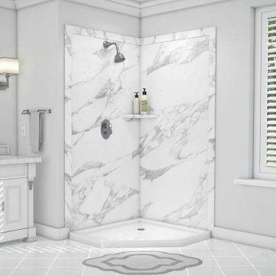 Splendor 40 in. x 40 in. x 80 in. 7-Piece Easy Up Adhesive Corner Shower Wall Surround in Calacatta White