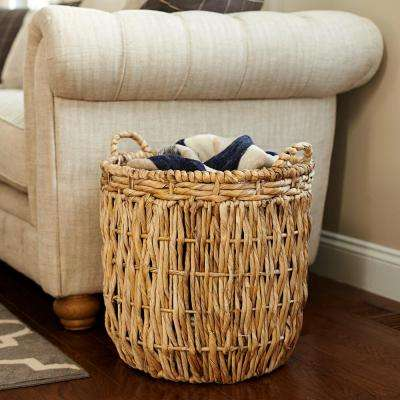17.7 in x 19.7 in Corn Leaf,Rope, and Banana Leaf Tall Basket with Handles