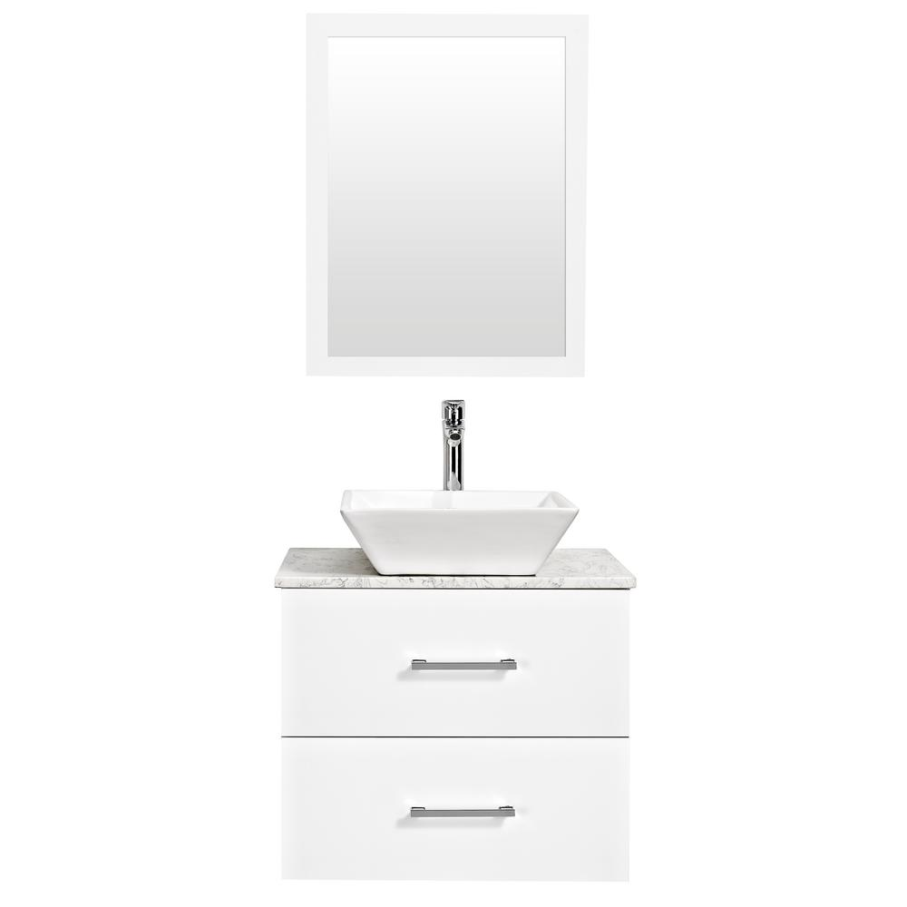 Decor Living Berto 24 in. W x 19 in. D Bath Vanity in White with Engineered Marble Top in White with White Basin and Mirror
