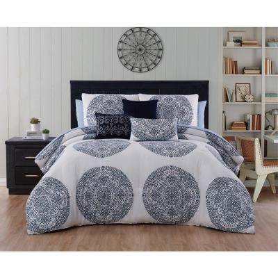 Arienne Medallion Blue Queen Comforter Set with Throw Pillows