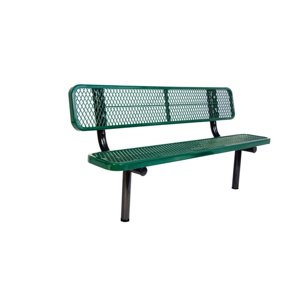 Ultra Play 6 ft. Diamond Green In-Ground Commercial Park Bench with Back Surface Mount