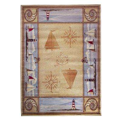 Wilderness Design Tan Nautical Compass Shell and Anchor 5 ft. 2 in. x 7 ft. 1.5 in. Indoor Area Rug