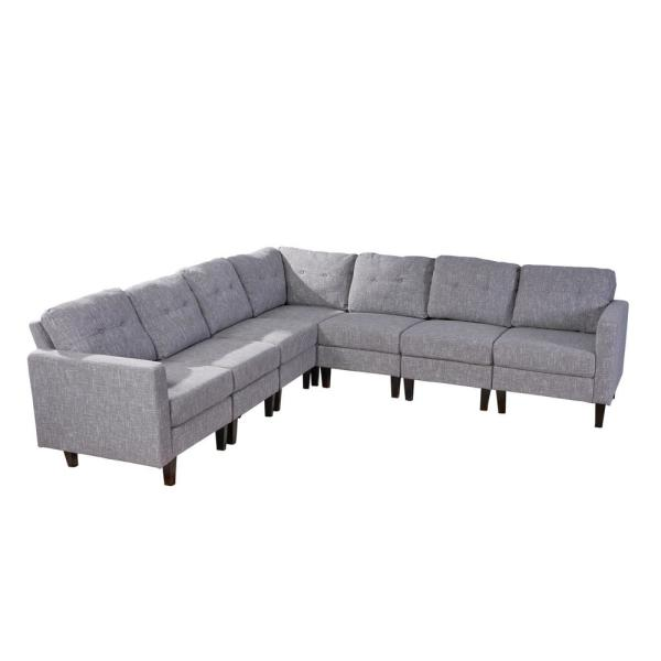 7-Piece Gray Tweed/Dark Brown Polyester 6-Seater L-Shaped Sectional Sofa with Wood Legs