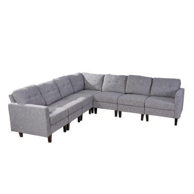 Delilah Mid Century Modern 7 Piece Gray Tweed Fabric Extended Sectional  Sofa Set