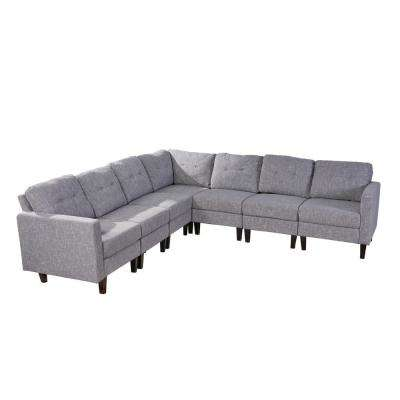 Delilah Mid-Century Modern 7-Piece Gray Tweed Fabric Extended Sectional Sofa Set