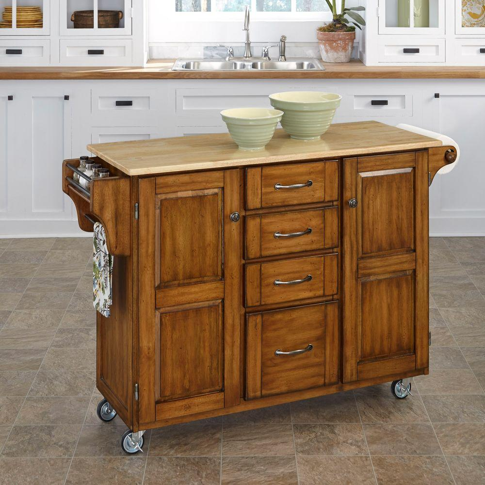 Create-a-Cart Warm Oak Kitchen Cart With Natural Wood Top