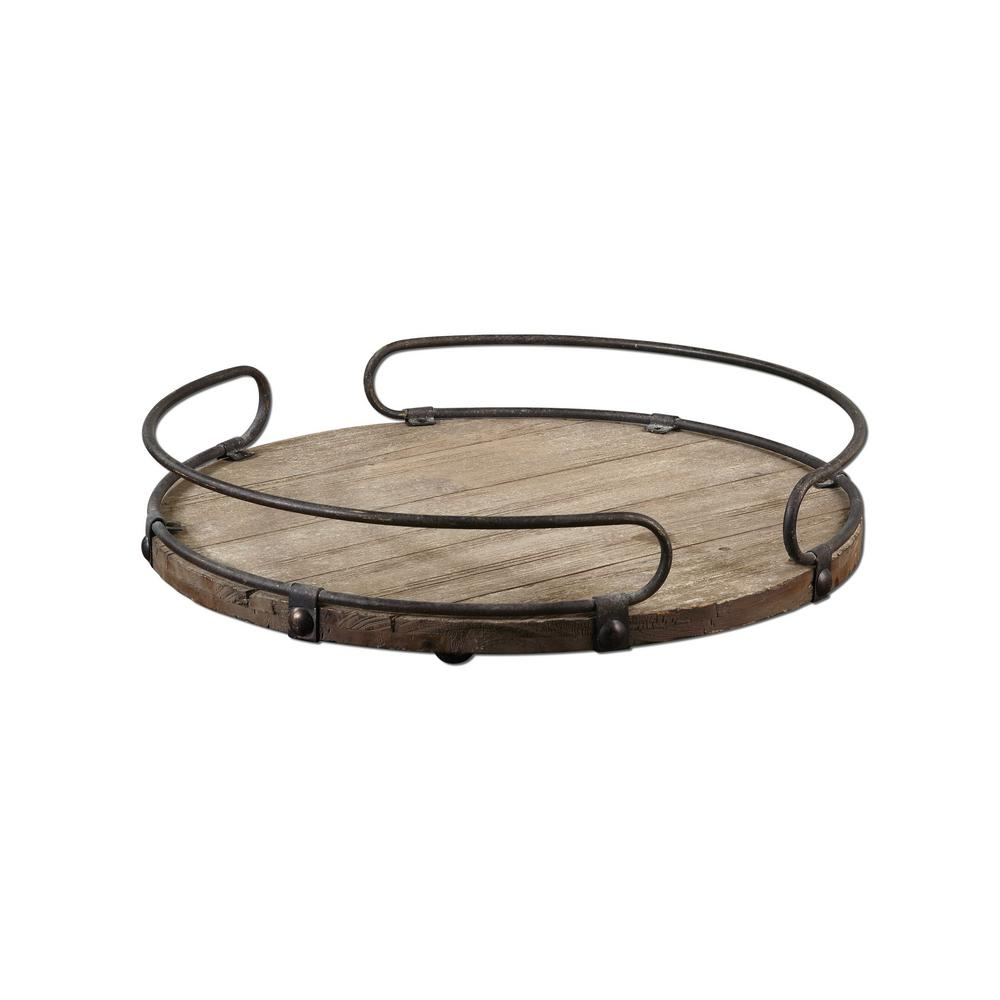 Global Direct 20 in. x 3.75 in. Decorative Tray in Natural Wood