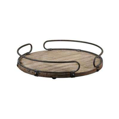20 in. x 3.75 in. Decorative Tray in Natural Wood