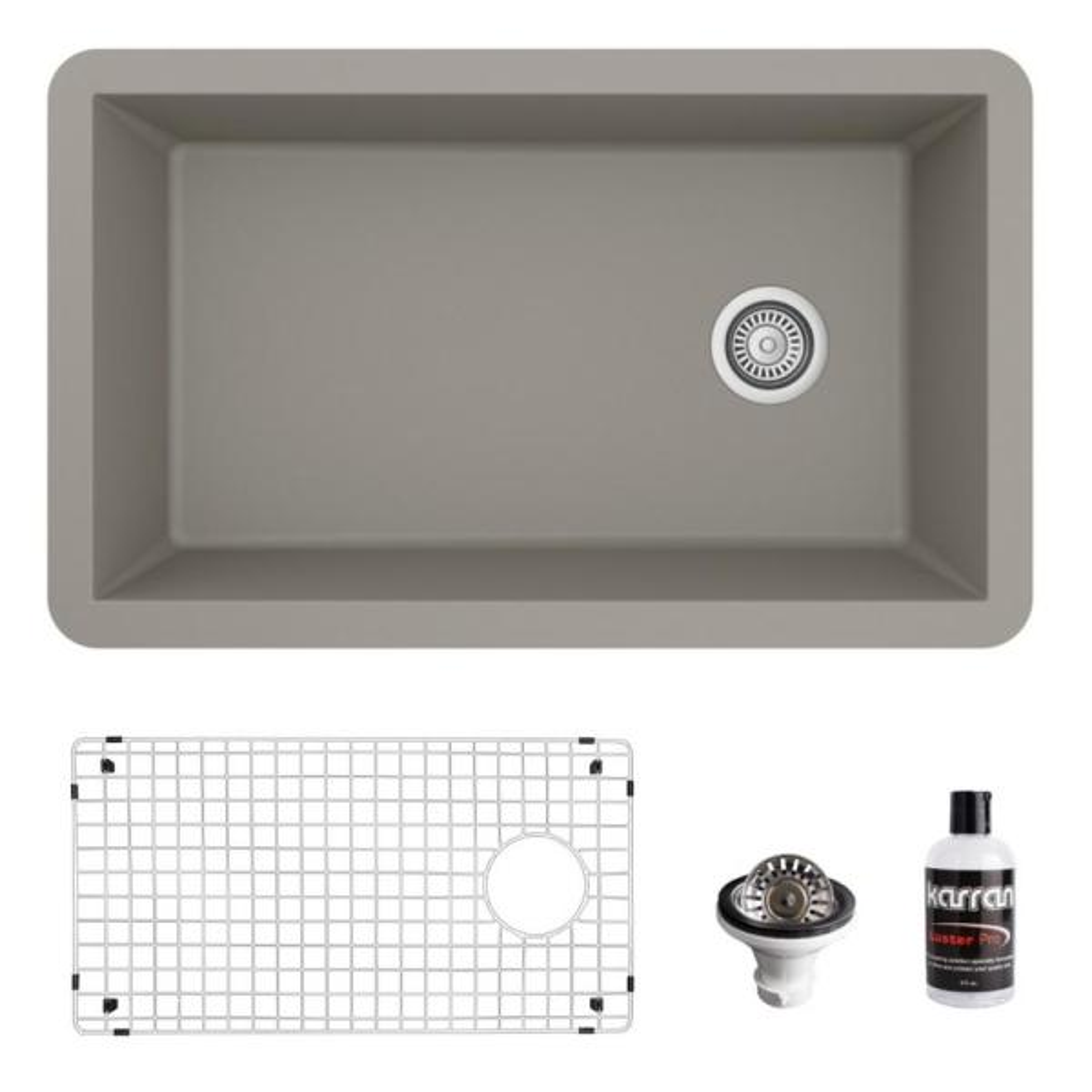 QU-670 Quartz/Granite Composite 32 in. Single Bowl Undermount Kitchen Sink with Grid and Basket Strainer in Concrete