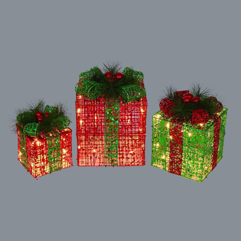 12 in. Christmas Lighted Gift Packages Outdoor Decorations (3-Pack)
