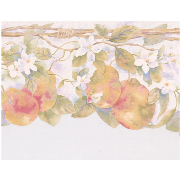 Chesapeake Red Yellow Pears White Flowers on Vine Scalloped Floral Prepasted