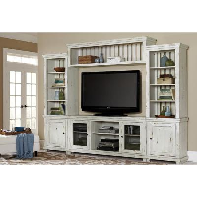 Willow 118 in. Distressed White Wood Entertainment Center Fits TVs Up to 55 in. with Wall Panel