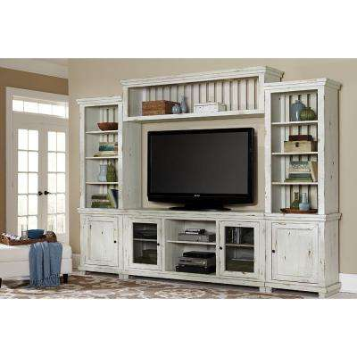 Willow Distressed White Complete Entertainment Center Wall Unit