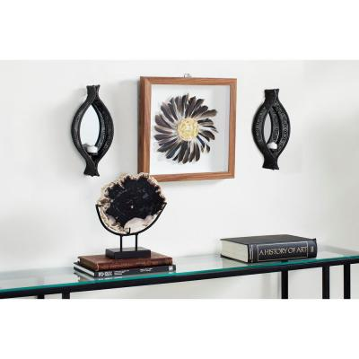 Eclectic Ellipse-Shaped Black Mesh Metal Wall Sconces with Mirrors, Set of 2