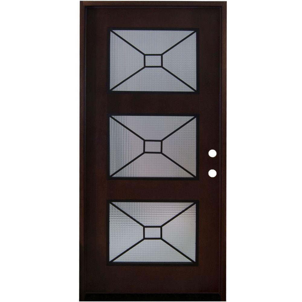 Steves Sons 36 In X 80 In Modern Iron Grille 3 Lite Stained Mahogany Wood Prehung Front Door