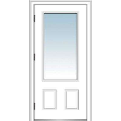 36 in. x 80 in. Classic Right-Hand Outswing 3/4 Lite Clear Primed Steel Prehung Front Door with Brickmould