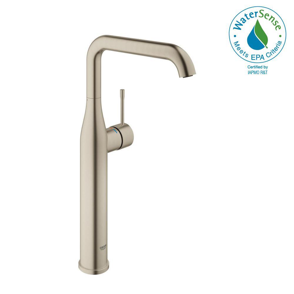 Essence New Single Hole Single-Handle Bathroom Faucet in Brushed Nickel InfinityFinish
