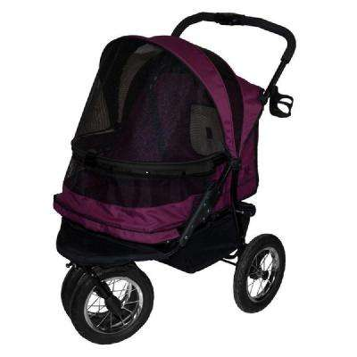 27 in. x 20 in. x 23 in. Boysenberry No-Zip Double Pet Stroller
