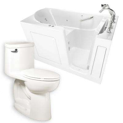 Whirlpool & Air Bath 30 in. x 60 in. Right-Hand Walk-In Bath with Roman Tub Filler & Cadet 3 FloWise Tall Height Toilet