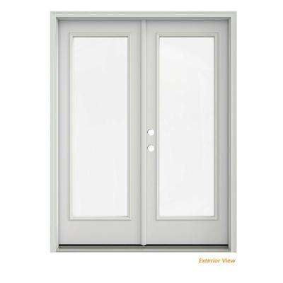 60 in. x 80 in. Primed Steel Right-Hand Inswing Full Lite Glass Stationary/Active Patio Door