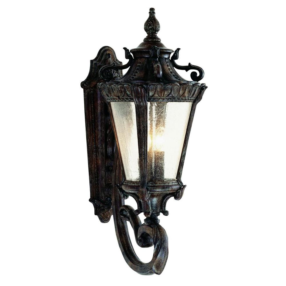 Bel Air Lighting Stewart 4-Light Patina Outdoor Incandescent Wall Lantern