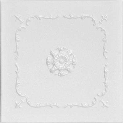 Bourbon Street 1.6 ft. x 1.6 ft. Foam Glue-up Ceiling Tile in Plain White (21.6 sq. ft. / case)
