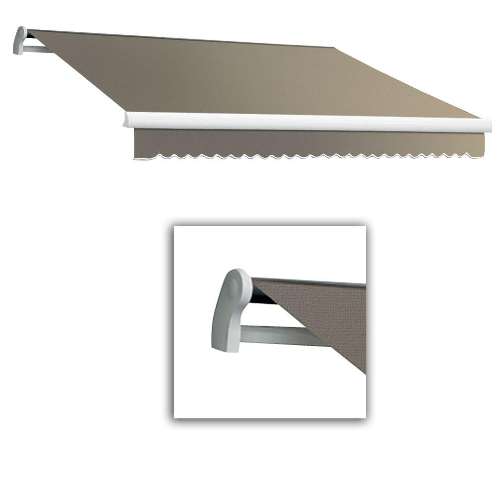 AWNTECH 12 ft. Maui-LX Left Motor Retractable Acrylic Awning with Remote (120 in. Projection) in Taupe